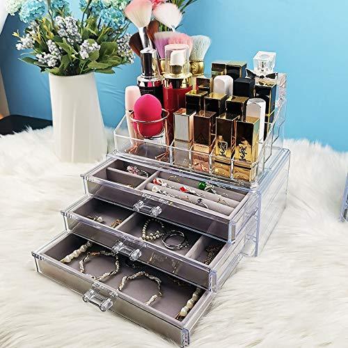 MUY Caja de Almacenamiento de Joyas, Organizador de cosméticos, Soporte para lápiz Labial, Pendientes, Collar, Soporte de exhibición de Reloj, cajón de Terciopelo, acrílico Transparente