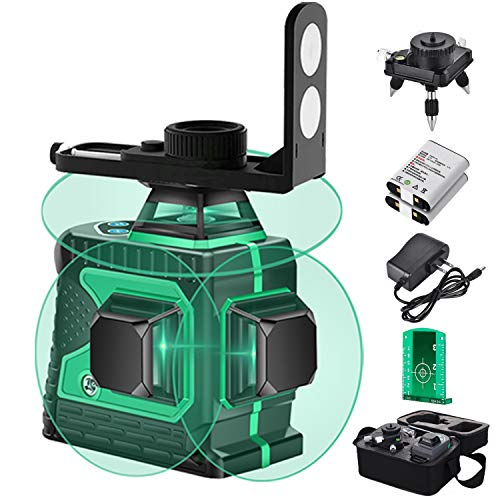 3D Green Beam Self-Leveling Laser Level, Cross Line Lazer Leveling,Tile Ceiling Floor 12 Lines Laser Level -Three-Plane Two 360° Vertical and One 360° Horizontal Line -Magnetic Rotary Base +Li Battery