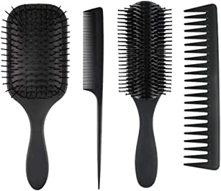 zroven 4Pcs Paddle Hair Brush Hair Scalp Massage Comb Set for Men and Women Wet Dry Hair Combs Hairbrush for Styling & Gro...