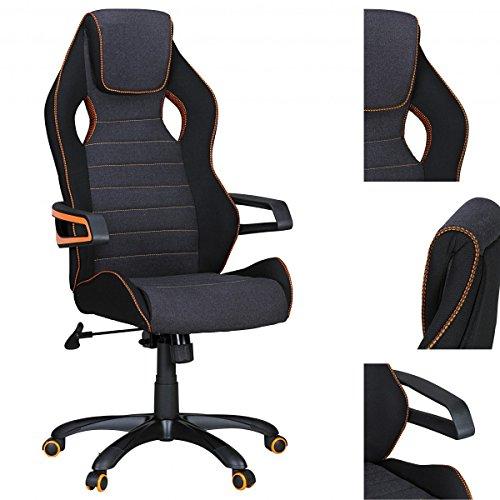 Chaise de Bureau Amstyle Valentino Racing Noire et Grise avec Ligne Orange