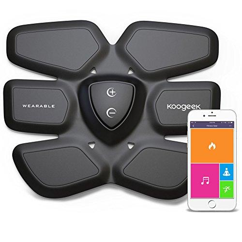 Koogeek Electrostimulateurs Abdominale / ABS Fitness Intelligente sans fil pour Stimulation Musculaire avec Pad Chargeur et APP