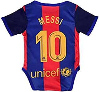 Qingxuh #10 Messi Home Barcelona2019-2020 Baby Cotton Soccer Bodysuits Infant OneSize Red/Blue