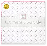 SwaddleDesigns Large Receiving Blanket, Ultimate Swaddle for Baby Boys, Girls, Softest US Cotton Flannel, Best Shower Gift, MADE in USA, Pink Polka Dots, Mom's Choice Winner