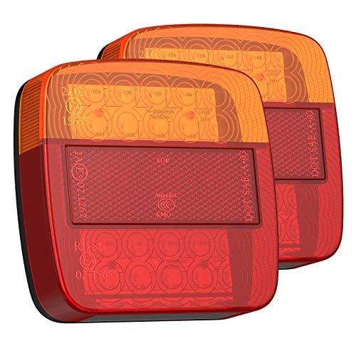 Justech 2x 12 V LED Rückleuchten Lampe IP65 mit E-Mark Bremslicht Rücklicht Kennzeichen Reflektor Autokennzeichen Beleuchtung für Trailer Truck Anhänger LKW Boot Vans Caravan Wohnwagen
