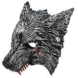 Halloween Werewolf Costume Wolf Mask with Blood Stains, Vivid Design Party Half Werewolf Mask for Adults & Kids - Dark Grey