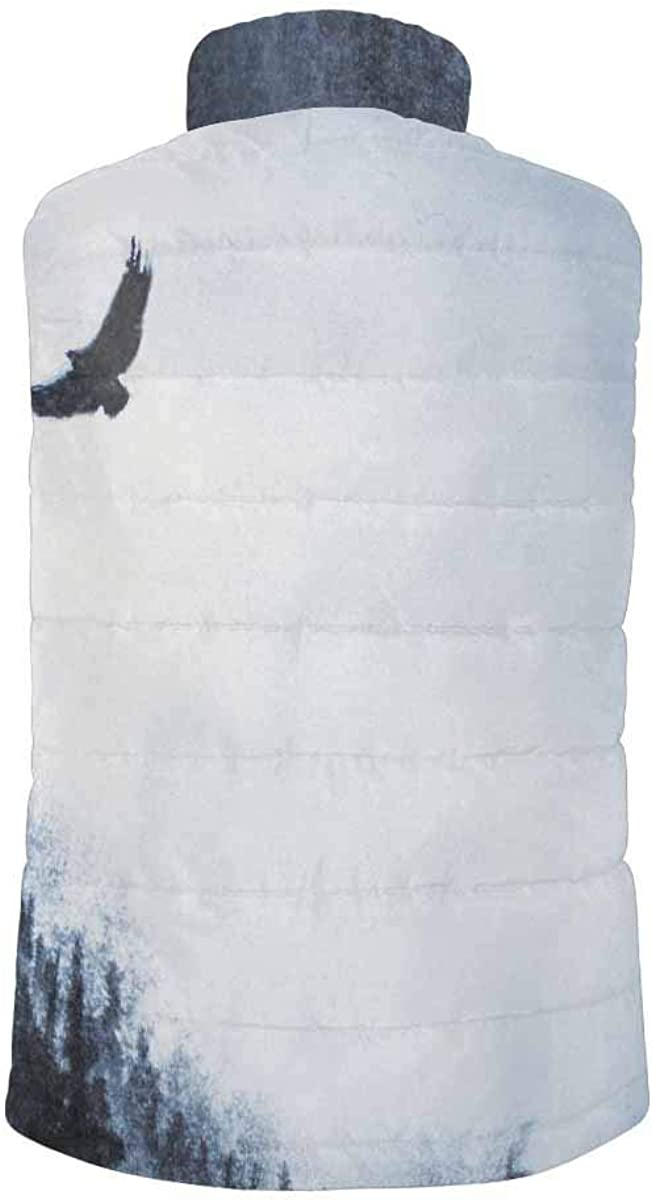 InterestPrint Men's Full-Zip Soft Warm Winter Outwear Vest Mountains Fog Pine and Eagle