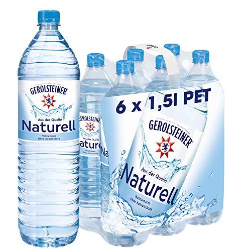 Gerolsteiner Naturell – Natürliches Mineralwasser ohne Kohlensäure – Geeignet für eine natriumarme Ernährung – 6 x 1,5 L PET Einweg Flaschen