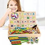 CHLOENCE Juego educativo método Montessori, kit de aprendizaje matemático, aprende números, operaciones, colores, conocimiento del tiempo, como el método Montessori