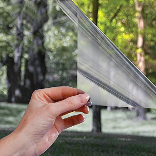 Spiegelfolie selbsthaftend Sichtschutzfolie Fensterfolie UV-Schutz Verdunkelungsfolie Wärmeisolierung Tönungsfolie Sonnenschutzfolie Fenster Folie für Haus Büro, 90 * 200CM Hell-Silber