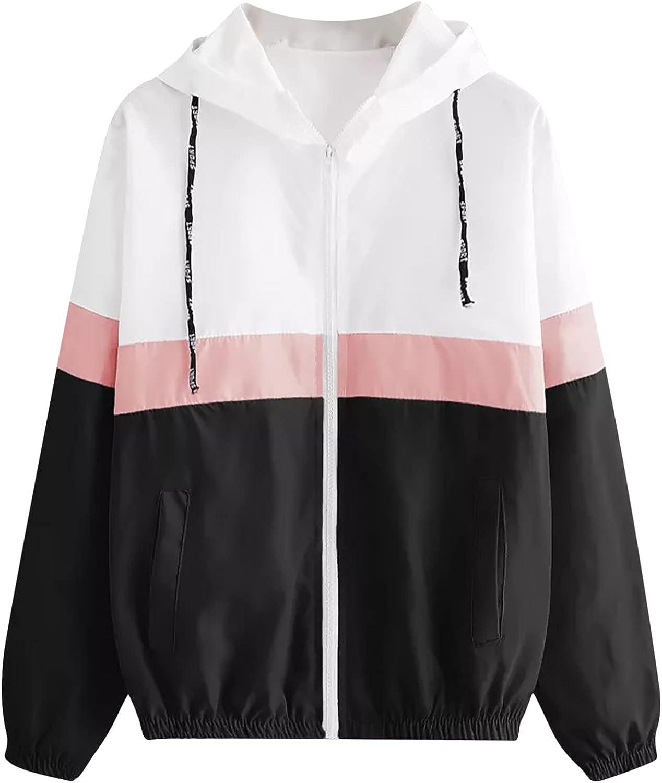 Womens Color Block Drawstring Hooded Zipper Pocket Sport Coat Casual Long Sleeve Thin Skinsuit Lightweight Windbreaker