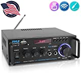 Wireless Bluetooth Stereo Power Amplifier - 200W Dual Channel Sound Audio Stereo Receiver System w/RCA, USB, SD, MIC in, FM Radio, for Home Theater Entertainment via RCA, Studio Use - Pyle PDA29BU