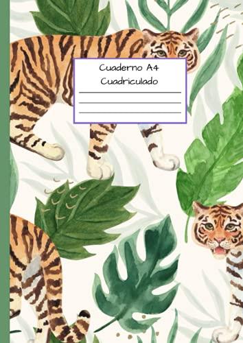 Cuaderno A4 Cuadriculado: Cuadrícula de 5 x 5 mm - Cubierta flexible - Ilustración de tigres (cuaderno folio a4)