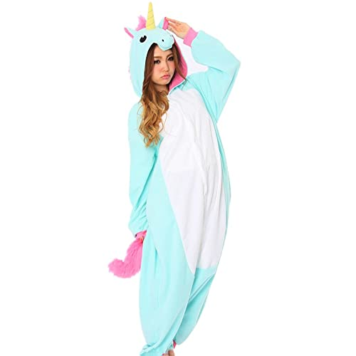 DAYAN New Pajamas Anime Costume Adult Animal Onesie Unicorn Cosplay Blue  and White Size XL fe34b28895db