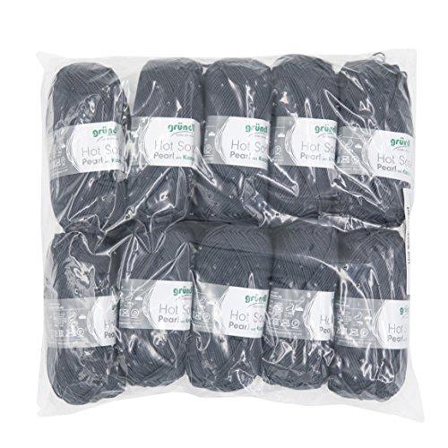 Gründl Hot Socks Pearl Uni, Vorteilspack 10 Knäuel à 50 g Sockenwolle, 75% Wolle (Merino Superwash), 20% Polyamid, 5% Kaschmir, anthrazit, 40 x 37 x 11 cm