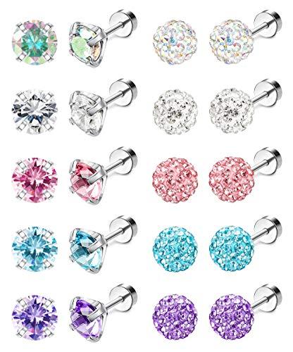 Jstyle 10Pairs 18G Ear Stud Earrings for Women Stainless Steel Cubic Zirconia Earrings Tragus Cartilage Piercing Barbell Screwback Earrings Set 7MM