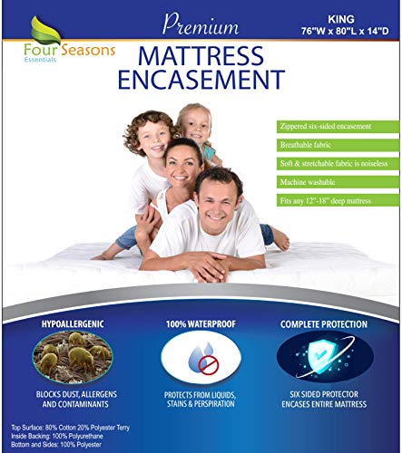 Four Seasons Essentials King Size Zippered Mattress Protector - Waterproof Mattress Cover - Hypoallergenic Dust Allergy Proof Bed Encasement - Deep Pocket Cotton Terry Top