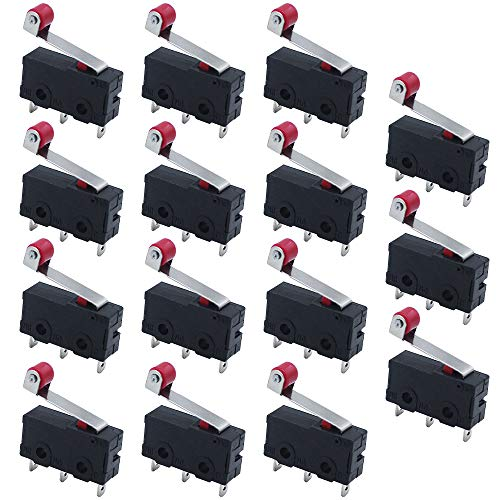 KingYH 15 Stück Mini Mikroschalter 3 Pins Roller Hebel Arm SPDT Endschalter 5A 250V Basisschalter für Elektronischen Geraeten Automatischen Maschinen