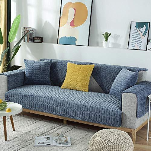 YUTJK Schlichtheit Couch abdeckungen,Weiches Flanell Einfarbig rutschfeste, verdickte Sofabezug Decke Stuhlkissen Armlehnenpolster Rückenmatte Teppich-Blau_90*90cm