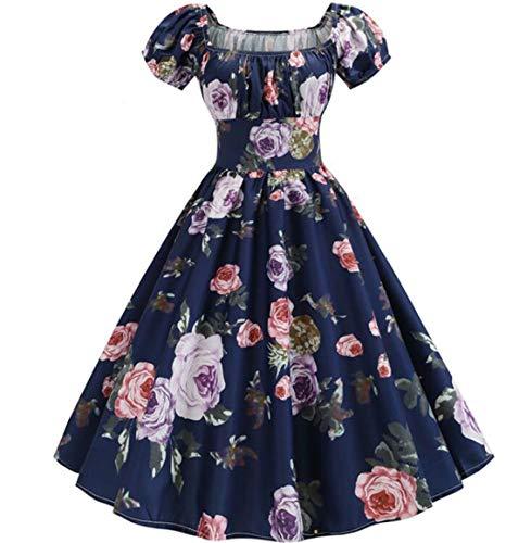 Mujeres Vintage Floral Estampado de Verano Vestido de hojaldre Elegante a-Line Midi Vestido de Fiesta