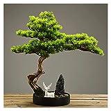 planta artificial con maceta Árbol de Bonsai Artificial, 20 pulgadas Potted House House Plants, planta hermosa del árbol de pino de pino, para la exhibición de escritorio de decoración Árbol artificia