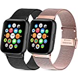 Mugust - Lote de 2 pulseras para Apple Watch (38 mm, 40 mm, 42 mm, 44 mm, acero inoxidable, repuesto compatible con iWatch Series 6, 5, 4, 3, 2, 1 SE (02 negro/oro rosa, 38 mm/40 mm)
