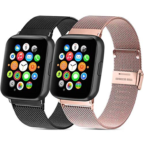 Mugust - Lote de 2 pulseras de acero inoxidable para reloj deportivo Apple Watch Series 6/5/4/3/2/1/SE (38 mm, 40 mm, 42 mm, 44 mm), 02 Noir+Or Rose, 42mm/44mm