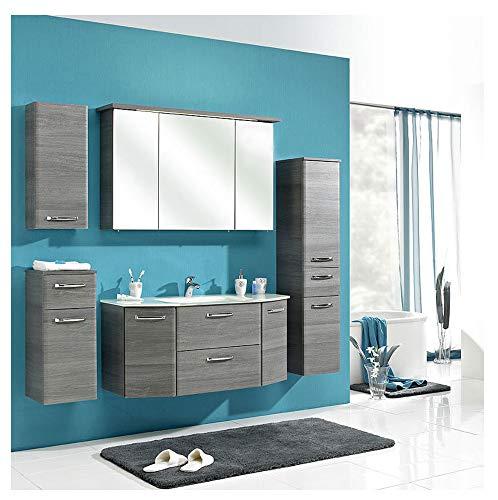 Pelipal - Alika 12 - Badmöbel-Set - 112 cm - Badset - 6-teilig mit Spiegelschrank, Glas-Waschtisch usw. in Graphit Struktur quer, EEK: A (Spektrum A - A)