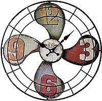 16インチの大きな壁時計、3D扇形ヴィンテージ鉄工業用サイレントローマ数字吊り時計家庭用、オフィス、カフェ装飾、マルチカラー、39.5CM