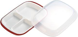 小森樹脂 食器 弁当 楽弁 フード付き ランチプレート 角型 レッド 26×18×高さ5cm 日本製 食洗機 レンジ 対応