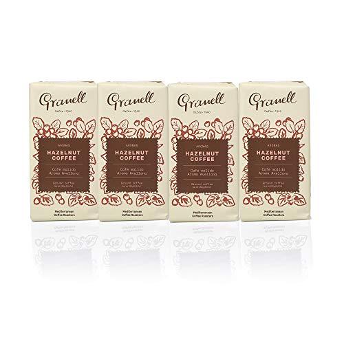 Granell Cafes-1940 Granell - Gemahlener Haselnuss Kaffee Pack| 100 % Arabica Kaffee Haselnuss - 4 Packungen x 250 g