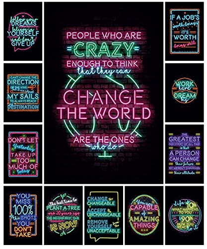 12 Motivational Posters - Neon Sign Style Wall Art - Decorate your classroom, bedroom, or home office with inspirational quotes - Perfect for teachers, Counselors and Students (11in x 17in)