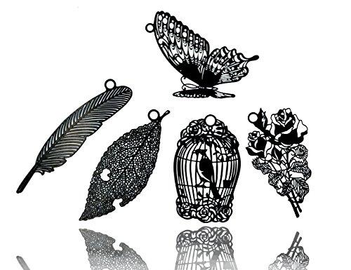 5 Pcs Black Natrural Metal Bookmarks Set with Mini envelopes,JoyTong Black Hollow Book Mark