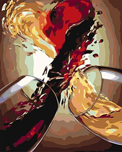 Empty Malen Sie nach Nummer DIY Malen nach Zahlen Kits Erwachsene Kinder Handgemalt Zahlen Malerarbeiten Wandkunst Bild Zeichnung Haus Deko-Weinglas 40x50 cm Kein Rahmen
