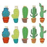 BESTOYARD Cactus Mini Pinzas Madera Decorativas Portafotos Pinzas para Fotos Colores 10 Unidades con 1 Cuerda de Cáñamo