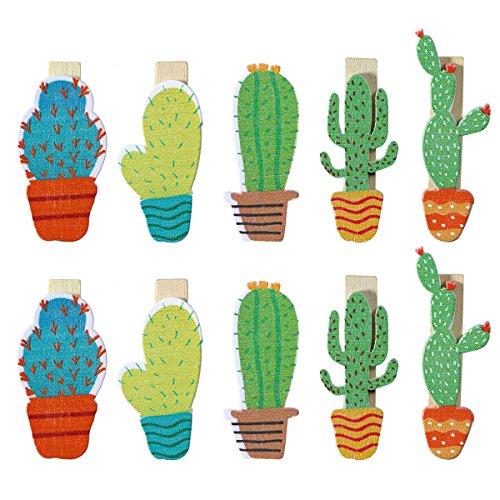 bestoyard 50Mini Wäscheklammern aus Holz Tür Foto Zange Clip Bunte Kaktus Deco mit Jute-Schnur