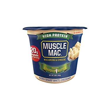 Muscle Mac   Macaroni and Cheese Aged Sharp White Cheddar Microwavable Cups, 20 Grams Of High Protein Per Serving, Real Cheese, Non-GMO