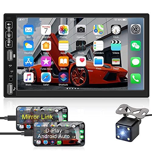 OiLiehu Autoradio Double Din 7 Pouces Lecteur de Voiture HD Écran Tactile capacitif Bluetooth FM Radio Support APP Sync, Lien Miroir pour téléphone iOS / Android + Caméra de recul