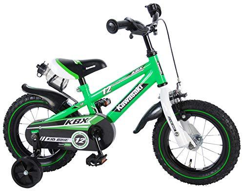 Kawasaki Kinderfahrrad Jungen 12 Zoll mit Vorradbremse am Lenker und Rücktrittbremse, Stützräder Grün 95% Zusammengebaut