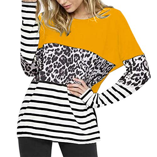 Damen Pullover T-Shirt Rundhals Lange Ärmel Loose bequem Patchwork Stripe Leopard Streetwear Frühling, Sommer und Herbst neu Outdoor Mode Casual Daily Wear Sweatshirt XL