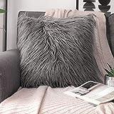 Phantoscope Decorative New Luxury Series Merino Style Grey Fur Throw Pillow Case Cushion Cover 18' x 18' 45cm x 45cm