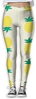 XMKWI Cute Pineapple Pattern Women's Power Flex Running Yoga Pants Workout Tights Leggings Trouser