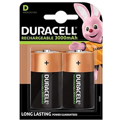 Duracell Ricaricabile D 3000 mAh, Batterie Torcia, Confezione da 2, Bronzo/Verde
