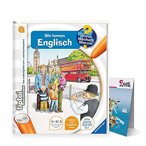 Ravensburger tiptoi Libro ¿Por qué? Es por ello? ¿Por qué? - Wir aprender Inglés + Niños Mapa del mundo - Países, Banderas, Continentes
