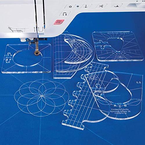 Quiltschablonen 6 Stück Lineal Set, freie Bewegung, Quilt-Schablone, Acryl Quilting-Rahmen, Lineal Vorlagen Quilting Vorlagen Musterset, DIY Stricken Nähwerkzeuge für Nähmaschine