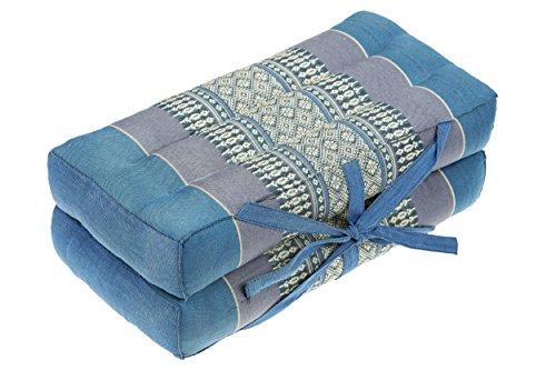 Faltbares Sitzkissen 40x40 als Auflage, Meditationskissen oder Stadionkissen Thaikissen für Unterwegs Entspannung Yoga Meditation blau