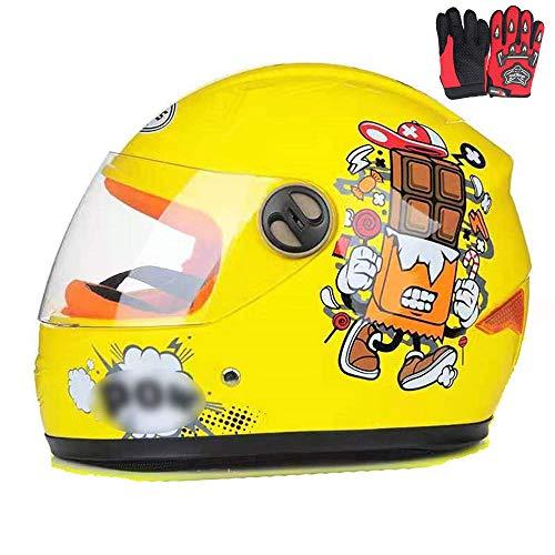 ZJRA Motocross-Helm Für Kinder, Motorradhelm Für Kinder, Jungen Und Mädchen, Cartoon-Stil Halbhelm, Sport Im Freien, Sonnenschild Für 3-8 Jahre Alt Kinder,Gelb