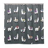Mnsruu Llama Alpaca - Cortina de Ducha con Ganchos, Tela de poliéster Decorativa, Impermeable, a Prueba de Moho para el hogar y el Hotel