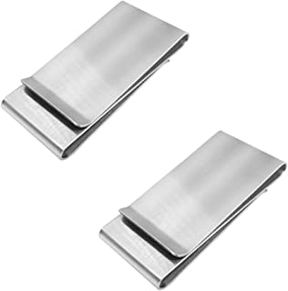 YuCool Stainless Steel Money Clips, 2 Pack Cash Credit Card Holder-(Double Side)