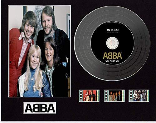 Abba - Pantalla de CD con efecto vinilo, disco negro u dorado y 3 celdas de película (disco negro, encendido y enmarcado)