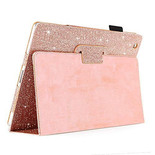 iPad 8th 10.2 2020 Case,FANSONG iPad 7th Generation Case 10.2, iPad Flip Leather Sparkle Glitter Cases with Pen Slot Stand [Auto Sleep/Wake up] Smart Cover for iPad 7/8 10.2-Inch 2019/2020 (Rose Gold)